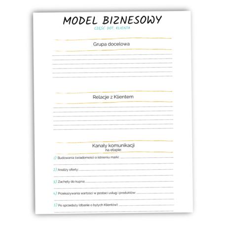 Pierwsza storna szablonu modelu biznesowego