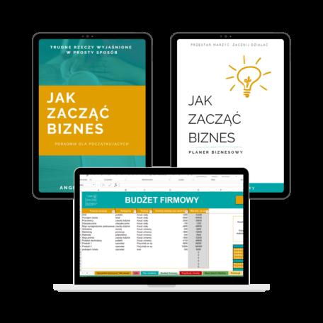 """Okładka E-booka """"Jak zacząć biznes"""", okładka Planera biznesowego, przykładowa strona Niezbędnika biznesowego"""